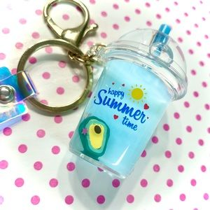 Cute Blue Liquid Shaker Avocado Keychain Bag Charm